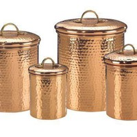 Set 4 Decor Copper Hammered Canisters 4Qt/2Qt/1.5Qt/1Qt