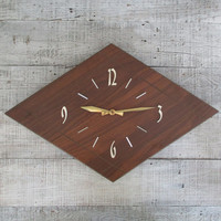 Wall Clock Mid Century Wall Clock Atomic Clock Mid Century Modern Clock Unique Wall Clock Retro Clock Wood Wall Clock Large Wall Clock