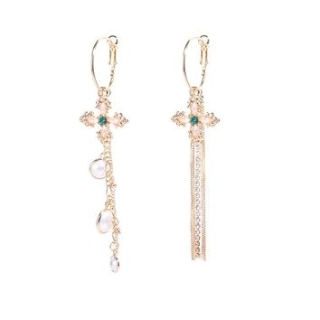 Cross Simulated Pearl Long Chain Tassel Earrings