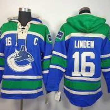 Mens Vancouver Canucks 16 Trevor Linden Old Time Blue Best Quality Cheap Embroidery Logo Ice Hockey Hoodies/ Hooded Sweatshirts