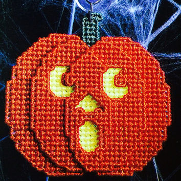 Pumpkin window decoration plastic canvas