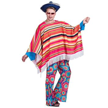 Men Mexican Poncho Wild West Cowboy Costume Carnival Party Adult Male Bandit Outfits Blanket Clothing Halloween Costumes