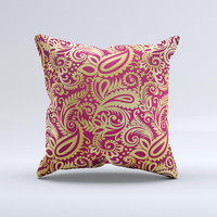 Gold and Red Paisley Pattern Ink-Fuzed Decorative Throw Pillow