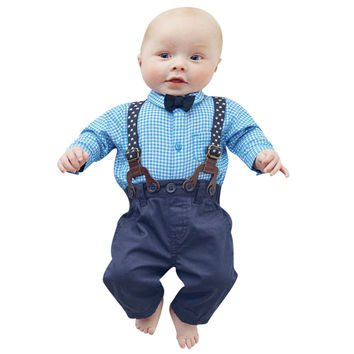 New Gentleman Newborn Baby Boys Wedding Clothes Set Kids Infant Toddler Plaid Shirt+Suspender Pants 2pcs Overalls Outfits Set