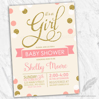 Coral and Gold Baby Shower Invitations