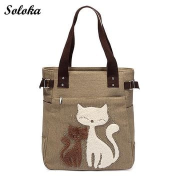 2018 Casual Summer Canvas Shoulder Bag Women Shopping Handbag Beach Bags Cute Cat Large Capacity Tote Bag