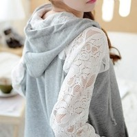 Lace Stitching Casual Loose Cardigan Sweater a BADC from threelittlebirds