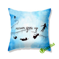 Never Grow Up Peterpan Square Pillow Cover