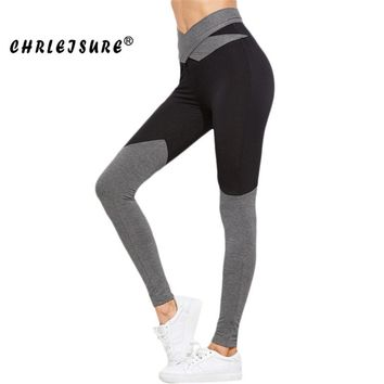 High Waist Bow Leggings Color Patchwork Fitness Workout Leggings