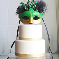 Mardi Gras Green and Gold Masquerade cake topper