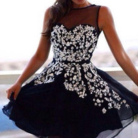 Black Floral Print Mesh Cut Out Dress