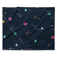 "Tobe Fonseca ""Lost In Space Pattern"" Blue Pink Pattern Illustration Digital Fleece Throw Blanket"