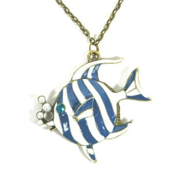 Striped Angel Fish Necklace Blue Coral Reef Charm NA32 Faux Pearl Ocean Mermaid Pendant Fashion Jewelry