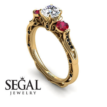 Unique Engagement Ring 14K Yellow Gold Art Deco Victorian Ring Edwardian Ring White diamond With Ruby - Elizabeth