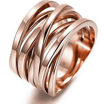 AUGUAU 13.7MM Stainless Steel Cross Ring Women Girls Statement Cocktail Ring Jewelry Rose Gold/Gold Plated