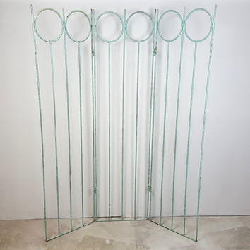 Vintage 3 Panel Room Divider Metal Gate Mint Green Aqua Geometric Pattern Mid Century Modern Art Deco Shabby Chic Livingroom Bedroom Decor