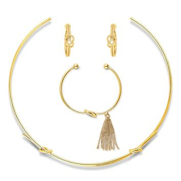 Gold-Tone CZ Fringe Love Knot Choker Necklace Earrings and Bracelet SetBe the first to write a reviewSKU# vs507-02