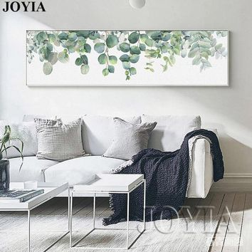 Home Decoration Nordic Style Painting Green Leaves Watercolor Leaf Wall Art Poster Canvas Prints Large Picture for Bedroom Decor