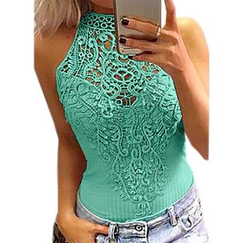 Women's Sexy Pink Halter Crochet Lace Snap Cotton Candy Bodysuit Club Top