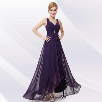 Summer Style Evening Dresses EP09983 Ever Pretty Double V Neck Rhinestones Ruched Bust High Low Chiffon Evening Dress Vestidos