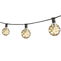 25 Ft. String Light Set W/G16 Mar E12 Lamps Black