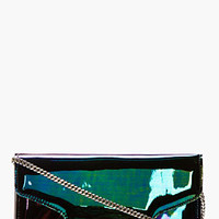 Proenza Schouler Black Iridescent Oil Slick Leather Ps11 Chain Clutch for women | SSENSE