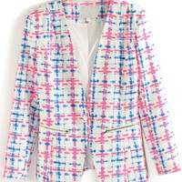 Plaid One-button Skinny Blazer - OASAP.com
