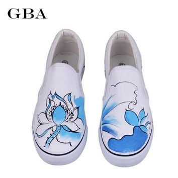 Gba New Foot Wrapping Women's Canvas Shoes Personalized Hand-Painted Shoes Flower Flat