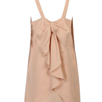 Beige Bow Embellished Back Two-layer Spaghetti Strap Dress