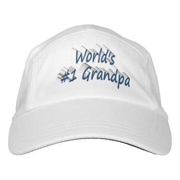 World's #1 Grandpa 3D Performance Hat, Ocean Blue Headsweats Hat