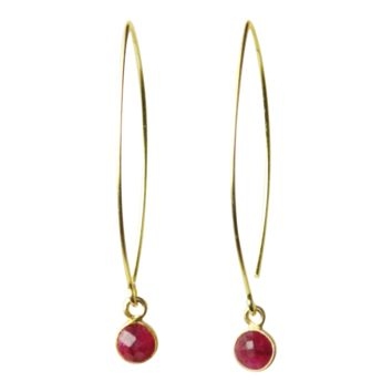 Gemstone Dangle Earrings in Ruby