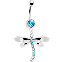 Aqua Cubic Zirconia Dragonfly Dangle Belly Ring | Body Candy Body Jewelry