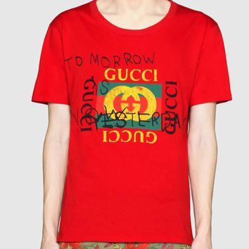 "Hot Sale ""Gucci""Letters Print Short Sleeve T-shirt Top I"