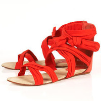 HARMONY Red Chiffon Bow Knot Sandals - Flats - Shoes - Topshop