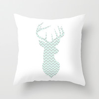 Deer Chevron Silhouette (Mint & Gray) Throw Pillow by daniellebourland