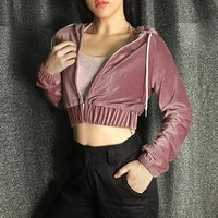 Women's Fashion Winter Thicken Pink Zippers Hats Sexy Crop Top Jacket [138758782991]