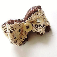 Burlap and Lace Hair Clip Farmhouse Rustic by CandiLovesPaper
