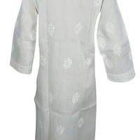 Mogul Interior Womans White Shimmer Cotton Tunic Dress Floral Embroidered Kurta M: Amazon.ca: Clothing & Accessories