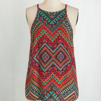 Boho Mid-length Spaghetti Straps Merry Visionary Top in Brights
