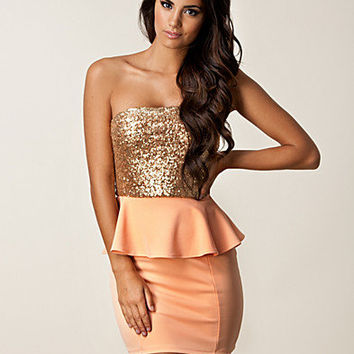 One Shoulder Peplum Dress, Dark Pink