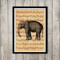Music notes poster Elephant print Old paper print Animal decor NP139
