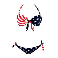 American Flag Halter Top and Side Tie Bikini Botttom