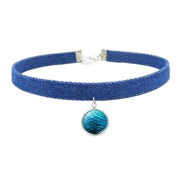 XUSHUI XJ Game of Thrones Dragon Egg Glass Pendant Denim Choker Necklace Classic Jewelry Chokers Necklaces for Women Best Gift
