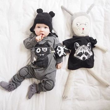 Baby Girls Boys Clothing New Little Monster Baby Clothes Cartoon 100% Cotton Long Sleeve Infant costumes baby Rompers
