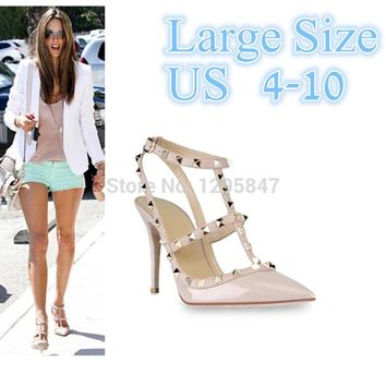 New 2106 Hot Women Pumps Ladies Sexy Pointed Toe High Heels Fashion Buckle Studded Sti