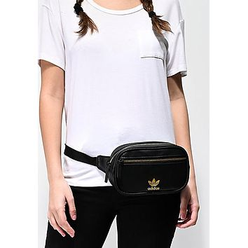 ADIDAS 2019 new men and women with the same paragraph black fashion gold LOGO zipper pockets