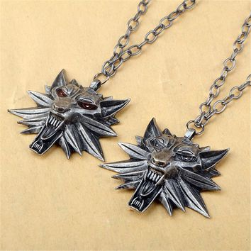 Wizard 3 Wolf Head Necklace Medallion Pendant Necklace For Women Men Christmas
