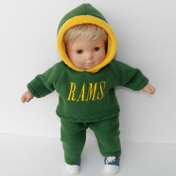 """bitty baby clothes, doll boy, girl, or 15"""" twin, green gold Rams, Football, Hoodie Hooded & pants, 2pc, american made by adorabledolldesigns"""