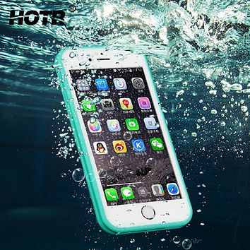 Waterproof Case For iphone 6 Luxury Slim Full Protect Soft Waterproof Case For Iphone 6 6s 6 plus 7 7 plus Swimming Phone Cases