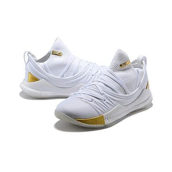 Under Armour Ua Curry 5 White/gold Basketball Shoe   Best Deal Online